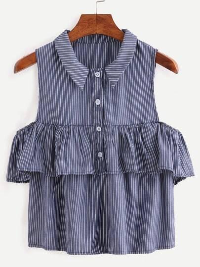 Ruffled Open Shoulder Vertical Striped Shirt - Blue
