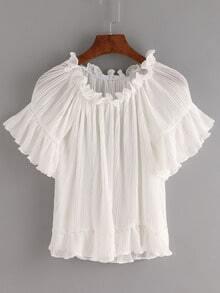 White Boat Neck Ruffle Hem Pleated Shirt