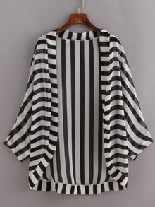 Black White Striped Open-Front Kimono