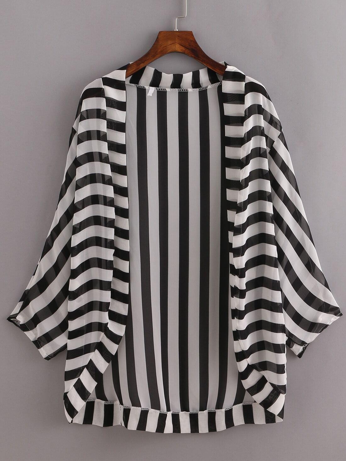 Striped Open-Front Dropped Shoulders Kimono