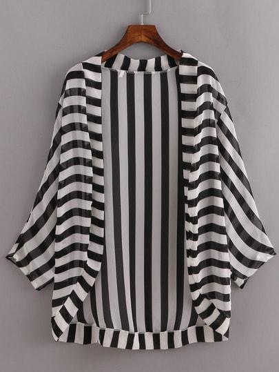 Striped Open-Front Kimono