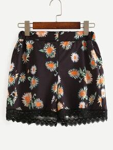 Lace Trimmed Daisy Print Shorts - Black