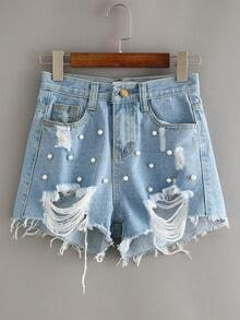 Blue Beaded Ripped Denim Shorts
