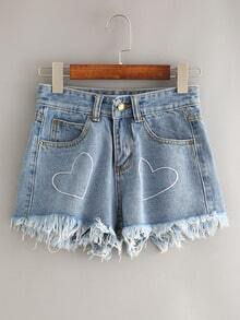 Blue Heart Embroidered Fringe Denim Shorts
