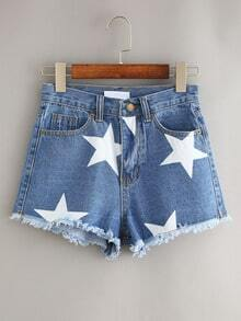 Blue Stars Print Fringe Denim Shorts