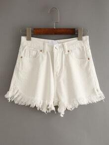 White Fringe Denim Shorts