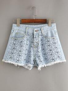 Frayed Flower Embroidered Light Blue Denim Shorts