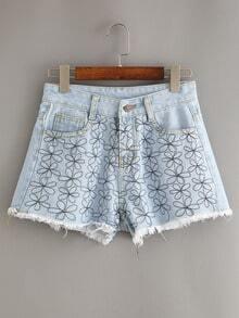 Frayed Flower Embroidered Light Blue Denim Shorts
