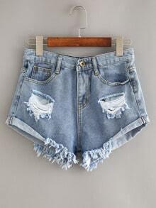 Ripped Rolled Hem Blue Denim Shorts
