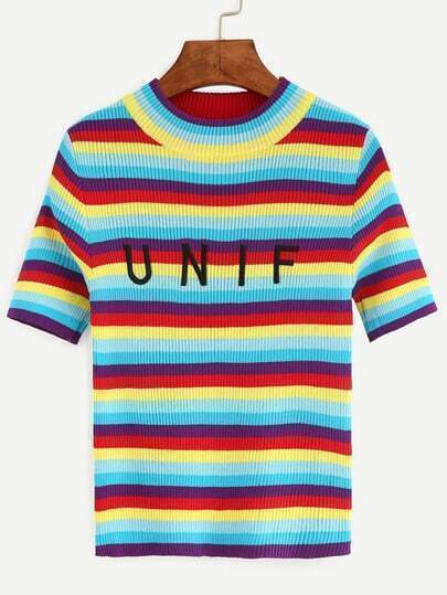 Color-block Striped Letters Embroidered Sweater