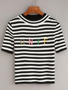 Black Striped Letters Embroidered Sweater