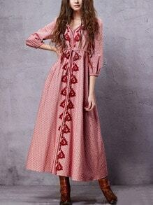 Drawstring Waist Long Embroidered Dress - Red