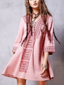 Buttoned Front Embroidered Boho Dress - Red