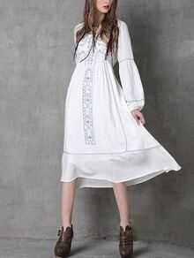 High Waist Lantern Sleeve Embroidered Dress - White