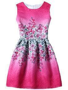 Flower Print Fit & Flare Sleeveless Dress - Hot Pink