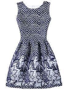 Chevron & Flower Print Fit & Flare Sleeveless Dress - Blue