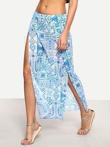Tribal Print High-Slit Skirt - Blue