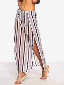 Vertical Striped High-Slit Skirt - Grey