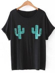 Black Cactus Print Short Sleeve T-shirt