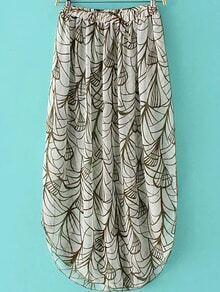 Multicolor Elastic Waist Printed Long Skirt