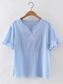 Blue V Neck Bell Sleeve Plaid Blouse