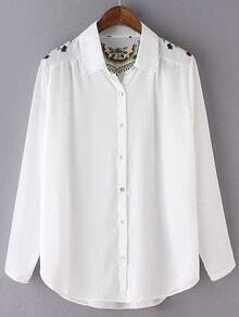 White Long Sleeve Buttons Front Embroidery Blouse