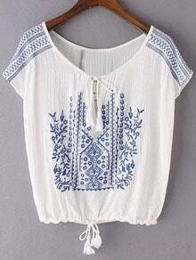White Tie Neck Tassel Embroidery Blouse