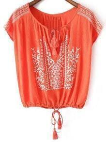 Red Tie Neck Tassel Embroidery Blouse