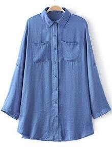 Blue Pockets Buttons Front Long Sleeve Blouse