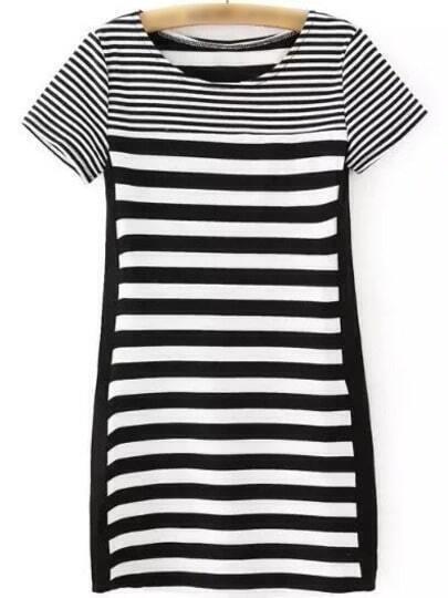 Black White Short Sleeve PU Splicing Striped Dress