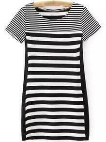 Black White Short Sleeve PU Splicing Striped Dress