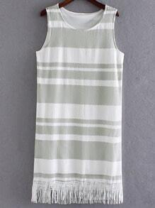 Green Sleeveless Fringe Hem Striped Lace Dress
