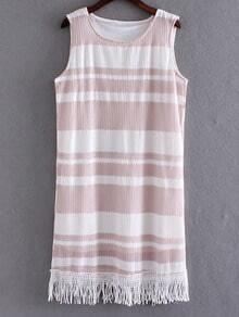 Pink Sleeveless Fringe Hem Striped Lace Dress