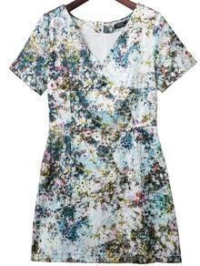 Multicolor Cross V Neck Zipper Back Flower Print Dress