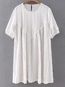 Apricot Half Sleeve Keyhole Back Striped Dress