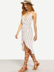 Black White Stripe Spaghetti Strap Asymmetrical Dress