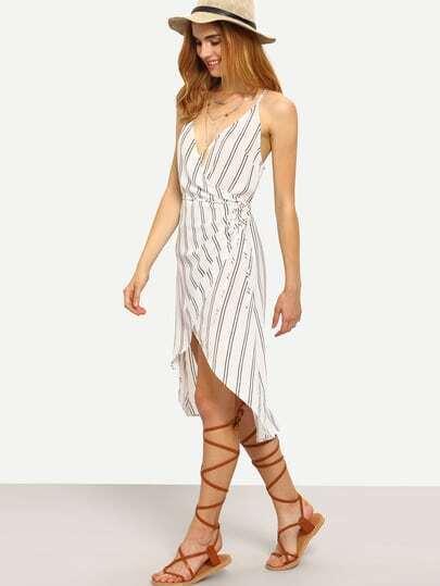 Black White Stripe Spaghetti Strap Asymmetrical Dress