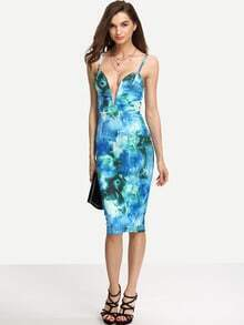 Multicolor Print Spagetti Strap V Neck Sheath Dress