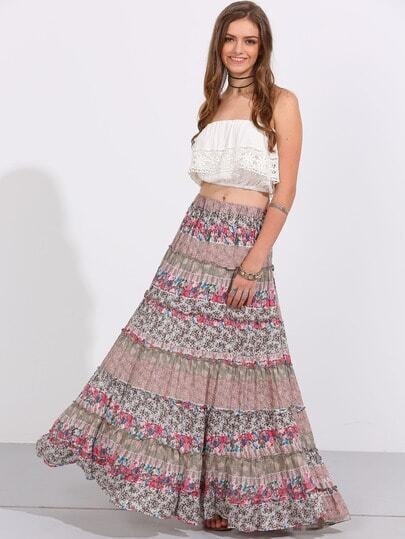 Calico Print Boho Maxi Swing Skirt