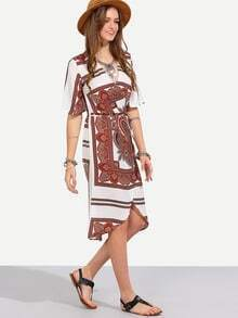 Multicolor Vintage Print V Neck Half Sleeve Dress