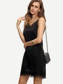 Black Spaghetti Strap Lace Splice Dress