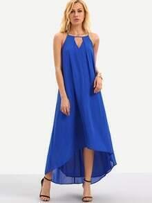 Blue Sleeveless Hollow Dip Hem Shift Dress