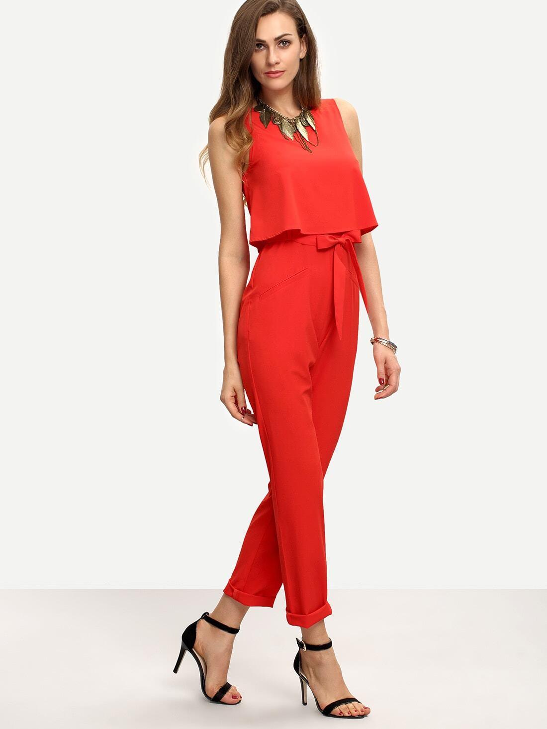 Купить Красный модный комбинезон с поясом, Mary, SheIn