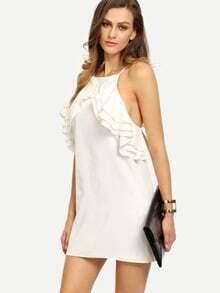 Beige Sleeveless Criss Cross Backless Ruffle Dress