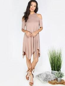 Khaki Cold Shoulder Asymmetrical Shift Dress