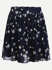 Flower Print Pleated Navy Chiffon Skirt