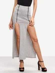 Grey Zip Split Long Skirt