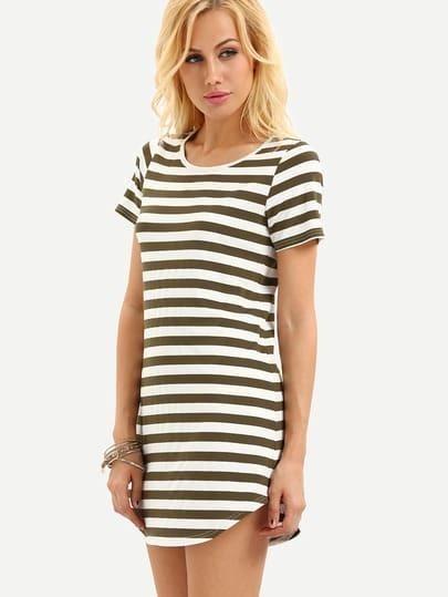 Black White Striped Short Sleeve Dress
