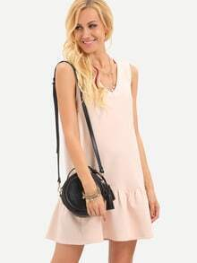 Pink Sleeveless V Neck Backless Dress