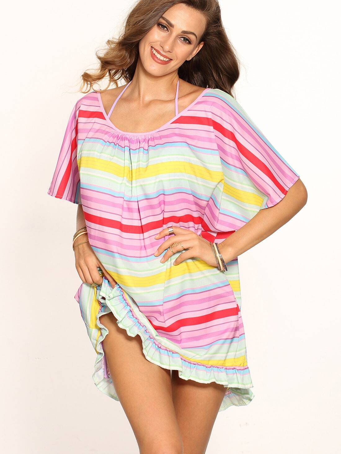Colored Stripe Ruffle Hem Halter Neck Shift Dress dress160524723